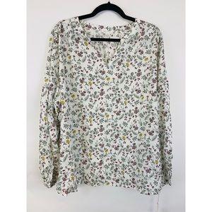 Caslon Split Neck Top Floral Print Blouse NWT